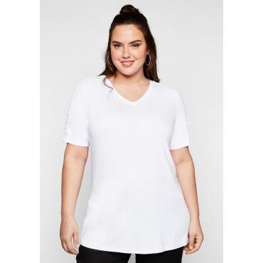 T-Shirt mit Spitzeneinsätzen am Ärmel, weiß, Gr.44/46-56/58
