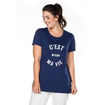 T-Shirt mit Statement-Druck, nachtblau, Gr.40/42-56/58