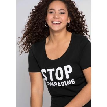 Große Größen: T-Shirt mit Statement, schwarz, Gr.44/46-56/58