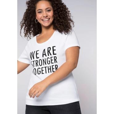 T-Shirt mit Statement, weiß, Gr.44/46-56/58