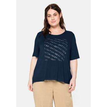 T-Shirt mit Statementdruck aus Glitzersteinen, nachtblau, Gr.40/42-56/58