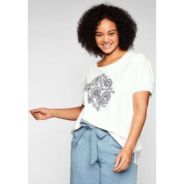 T-Shirt mit Stickerei und Puffärmeln, aus Jersey, offwhite, Gr.44/46-56/58