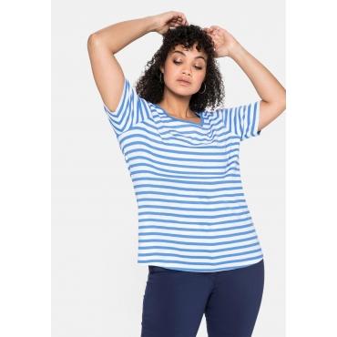 T-Shirt mit Streifen und Rundhalsausschnitt, jeansblau-weiß, Gr.40/42-56/58