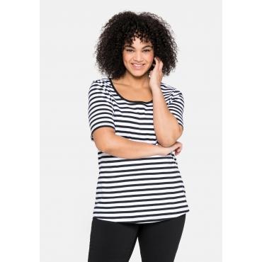 T-Shirt mit Streifen und Rundhalsausschnitt, schwarz-weiß, Gr.40/42-56/58
