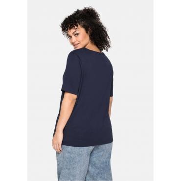 T-Shirt mit tiefem Ausschnitt und längerem Ärmel, marine, Gr.40/42-56/58