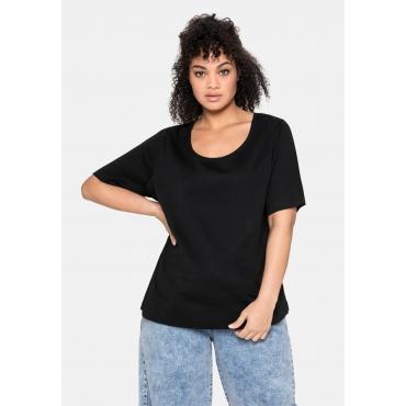 T-Shirt mit tiefem Ausschnitt und längerem Ärmel, schwarz, Gr.40/42-56/58