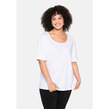 T-Shirt mit tiefem Ausschnitt und längerem Ärmel, weiß, Gr.40/42-56/58