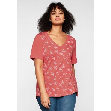 T-Shirt mit tiefem V-Ausschnitt und Palmenprint vorn, koralle bedruckt, Gr.44/46-56/58