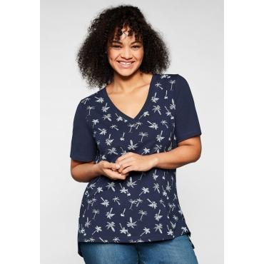 T-Shirt mit tiefem V-Ausschnitt und Palmenprint vorn, marine bedruckt, Gr.44/46-56/58