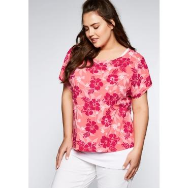 Große Größen: Shirt im Lagenlook mit Blumendruck, korallrot, Gr.44-58