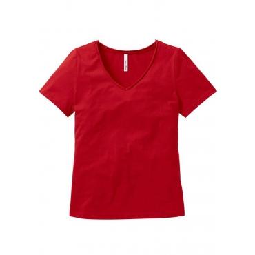 Große Größen: T-Shirt mit V-Ausschnitt, rot, Gr.40/42-56/58