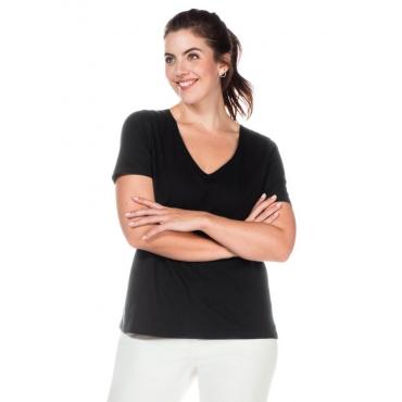 Große Größen: T-Shirt mit V-Ausschnitt, schwarz, Gr.40/42-56/58