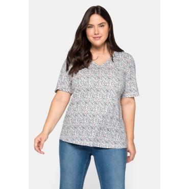 T-Shirt mit V-Ausschnitt und Alloverprint, offwhite bedruckt, Gr.44/46-56/58