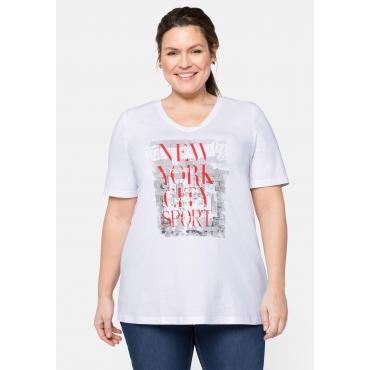 T-Shirt mit V-Ausschnitt und Frontdruck, weiß bedruckt, Gr.44/46-56/58