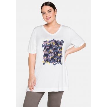 T-Shirt mit V-Ausschnitt und Frontdruck, weiß, Gr.44/46-56/58