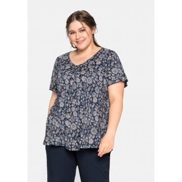 T-Shirt mit V-Ausschnitt und Kellerfalte, A-Linie, nachtblau bedruckt, Gr.44/46-56/58