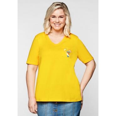 T-Shirt mit V-Ausschnitt und kleinem Druck, gelb, Gr.44/46-56/58