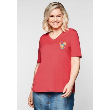 T-Shirt mit V-Ausschnitt und kleinem Druck, korallrot, Gr.44/46-56/58