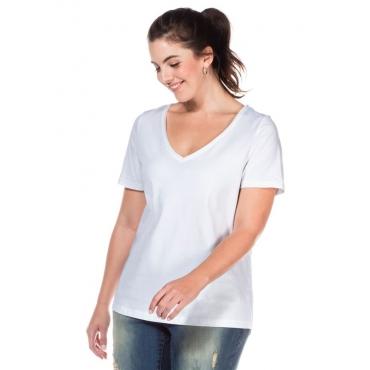 Große Größen: T-Shirt mit V-Ausschnitt, weiß, Gr.40/42-56/58