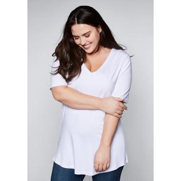 Große Größen: T-Shirt mit V-Ausschnitt, weiß, Gr.44/46-56/58