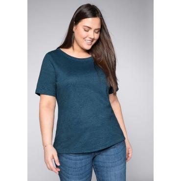 T-Shirt mit verlängertem Halbarm, dunkelpetrol, Gr.44/46-56/58