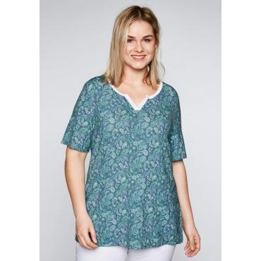 T-Shirt mit verlängertem Halbarm und Mesheinsatz, smaragd, Gr.44/46-56/58