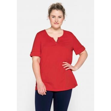 T-Shirt mit Zierknöpfen und längerem Ärmel, feuerrot, Gr.44/46-56/58