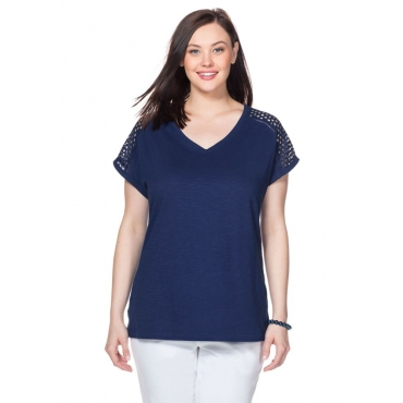 T-Shirt mit Webspitzeneinsatz und V-Ausschnitt, nachtblau, Gr.40/42-56/58