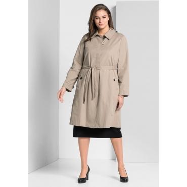Große Größen: Trenchcoat in klassischer Form, softtaupe, Gr.44-58