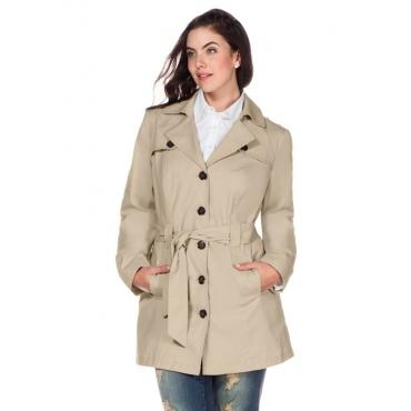 Große Größen: Trenchcoat in Kurzform, beigefarben, Gr.40-58