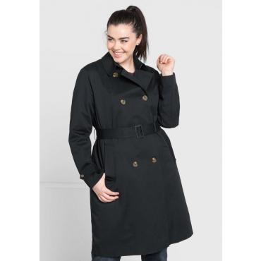 Große Größen: Trenchcoat mit Gürtel, schwarz, Gr.44-58
