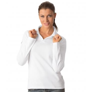 Große Größen: TRIGEMA Langarm Polo-Shirt, weiss, Gr.L-XL