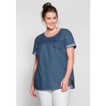Große Größen: Jeans-Tunika mit gerundetem Saum, blue Denim, Gr.40-58