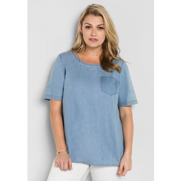 Große Größen: Jeans-Tunika mit gerundetem Saum, light blue Denim, Gr.40-58