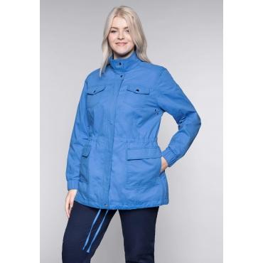 Große Größen: Übergangsjacke im sportiven Design mit Brusttaschen, azurblau, Gr.44-58