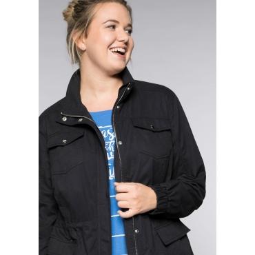 Große Größen: Übergangsjacke im sportiven Design mit Brusttaschen, schwarz, Gr.44-58