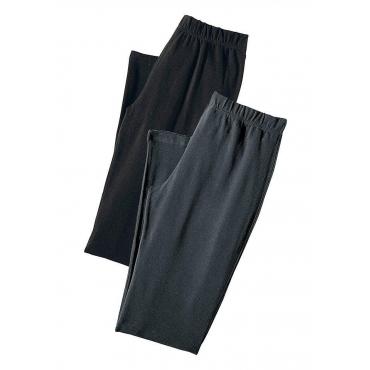 Große Größen: Vivance Basic-Caprihosen (2 Stück) mit schmalem Bein, schwarz+anthrazit, Gr.40/42-56/58