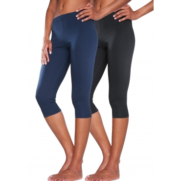 Große Größen: Vivance Basic-Caprileggings (2 Stück) aus softer Stretchqualität, marine+schwarz, Gr.40/42-56/58