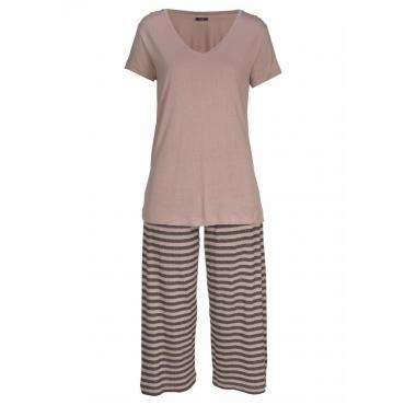 Große Größen: Vivance Dreams Capri-Pyjama mit gestreifter Culotte, sand, Gr.44/46-56/58