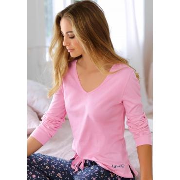 Große Größen: Vivance Dreams Langarmshirt mit V-Ausschnitt, pink, Gr.44/46-56/58