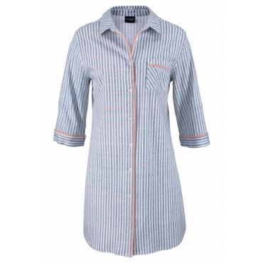 Große Größen: Vivance Dreams Nachthemd in klassischer Hemdform mit 3/4-Arm, gestreift, Gr.44/46-56/58