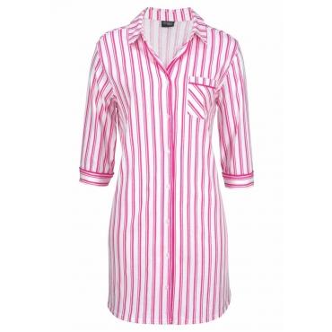 Große Größen: Vivance Dreams Nachthemd in klassischer Hemdform mit 3/4-Arm, pink, Gr.44/46-56/58