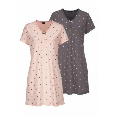 Große Größen: Vivance Dreams Nachthemd, rosé+mauve, Gr.40/42-56/58