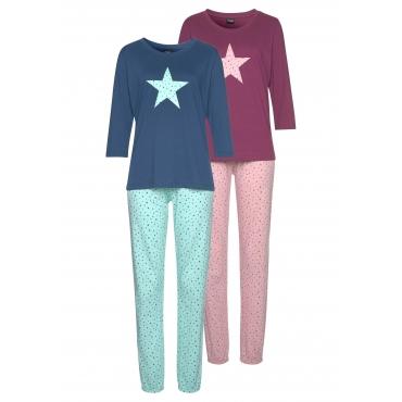 Große Größen: Vivance Dreams Pyjama (2 Stück), bordeaux+marine, Gr.44/46-56/58