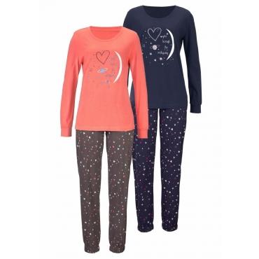 Große Größen: Vivance Dreams Pyjama (2 Stück) mit Herzprint, marine+koralle, Gr.40/42-56/58