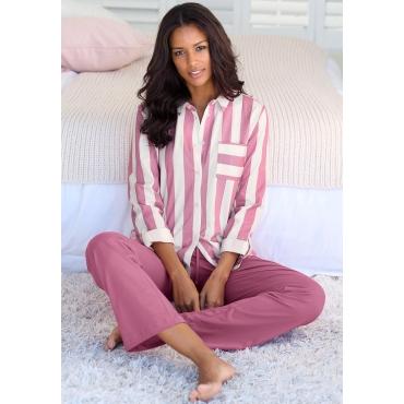 Große Größen: Vivance Dreams Pyjama, bordeaux-weiß, Gr.44/46-56/58