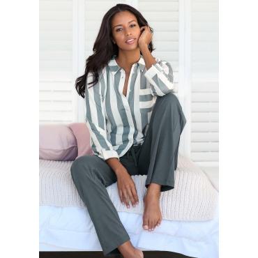 Große Größen: Vivance Dreams Pyjama im Hemdblusenlook, grau-weiß, Gr.44/46-56/58