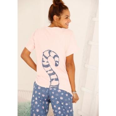 Große Größen: Vivance Dreams Pyjama mit Ringelschwanzprint auf der Rückseite, rosé+mehrfarbig, Gr.40/42-56/58