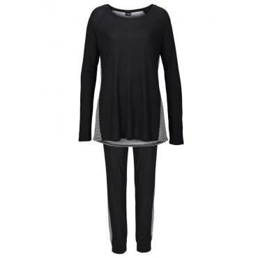 Große Größen: Vivance Dreams Pyjama mit schwarz-weißem Ornamentdruck, schwarz bedruckt, Gr.40/42-56/58