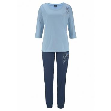 Große Größen: Vivance Dreams Pyjama mit Vogelmotiven, hellblau, Gr.44/46-56/58